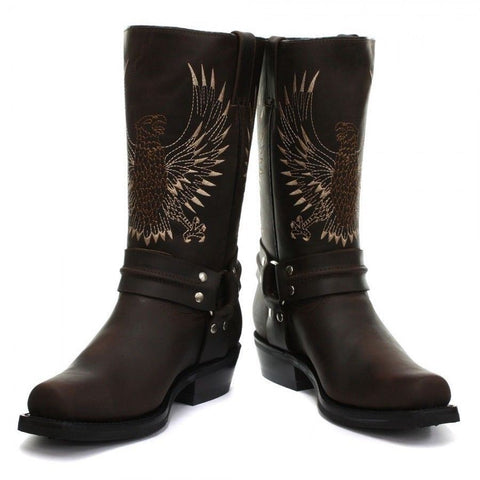 Grinders New Unisex Bald Eagle Boot Brown Biker Cowboy Western Leather Boots - BOOTSANDLEATHER