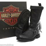 Harley Davidson Ladies Dulcie Black Leather Boot Zip Cowboy Biker Boots Dulice - BOOTSANDLEATHER