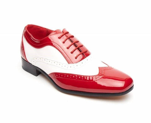 Rossellini Borsalino Mens Shoes Lace Up Brogue Red White Pointed Casual Shoe - BOOTSANDLEATHER
