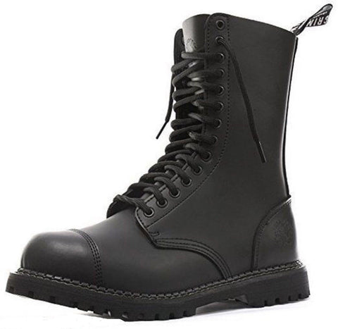 Grinders Herald Cs Commando Combat Boot Black Leather Safety Steel Cap Punk Rock - BOOTSANDLEATHER