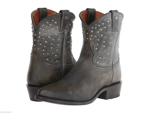 Harley Davidson Ladies Kira Distressed Black Grey Leather Western Boots Biker - BOOTSANDLEATHER