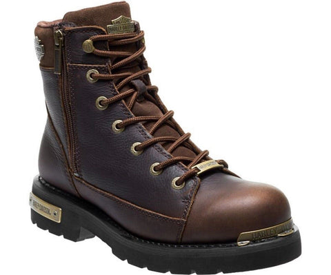Harley Davidson New CHIPMAN Men Brown Leather Biker Boots Rock Bike Lace Up - BOOTSANDLEATHER