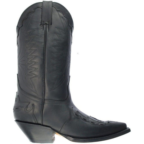 Grinders Arizona Cowboy Western Black Leather Boots Knee High Boot West Biker - BOOTSANDLEATHER