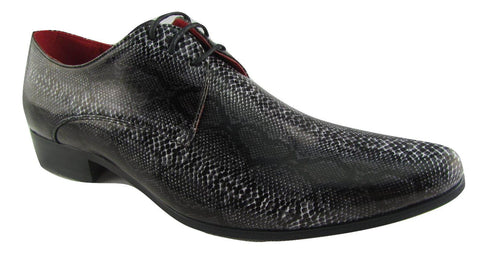 Rossellini Brenzone Mens Shoes Black Grey Faux Snake Lace Up Pointed Casual - BOOTSANDLEATHER