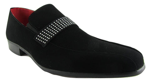 Rossellini Rimini Mens Moccasin Shoes Black Nubuck Leather Lined Heel Loafer - BOOTSANDLEATHER