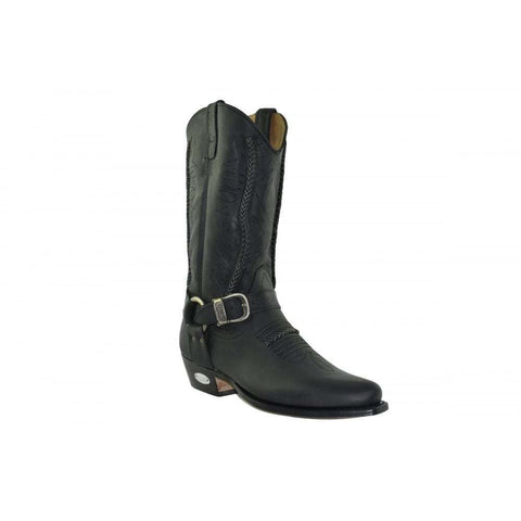 Loblan 2476 Black Waxy Leather Cowboy Boots Hand Made Classic Unisex Western - BOOTSANDLEATHER