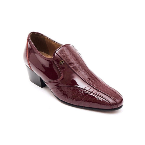 Lucini Mens Formal Cuban Heels Croc Leather Slip On Wedding Shoes Bordo Patent - BOOTSANDLEATHER