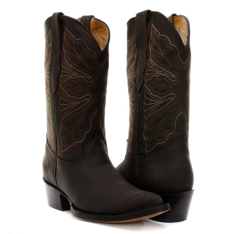 Grinders Dallas Brown Western Cowboy Ladies Leather Boots - BOOTSANDLEATHER