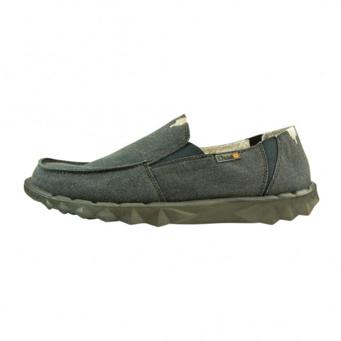 Hey Dude Slip On Men Shoes Farty Chalet Ocean Blue Textile Scotchgard™ Leather - BOOTSANDLEATHER