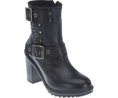 Harley Davidson Ludwell Ladies Biker Boots Black Leather Heel Boot - BOOTSANDLEATHER