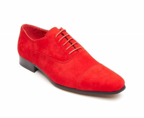Rossellini Mario Mens Shoes Red Faux Suede Lace Up Pointed Casual Shoe - BOOTSANDLEATHER