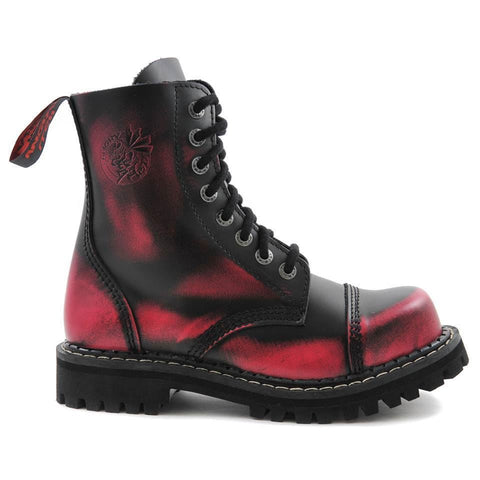 Angry Itch 8 Hole Black Leather Pink Rub Off Combat Boots Army Ranger Steel Toe - BOOTSANDLEATHER