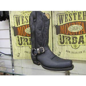 Loblan 641 Black Waxy Leather Mens Cowboy Boots Classic Biker Western - BOOTSANDLEATHER