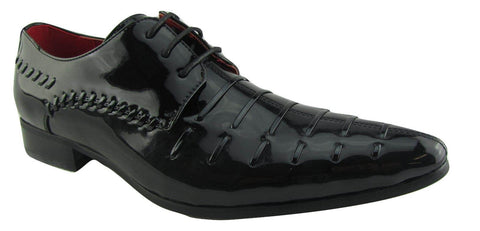 Rossellini Prato Z3 Mens Shoes Lace Up Black Patent Pointed Casual Shoe - BOOTSANDLEATHER