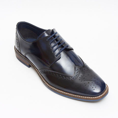 Lucini Formal Men Blue Navy Leather Formal Lace-Up Brogues Shoes Wedding Office - BOOTSANDLEATHER