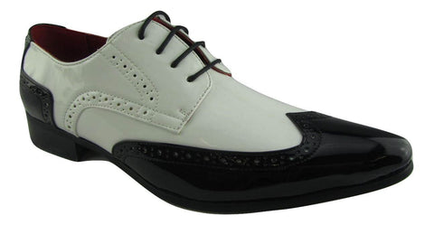 Rossellini Prato Z2 Mens Shoes Lace Up Brogue Black White Pointed Casual Shoe - BOOTSANDLEATHER