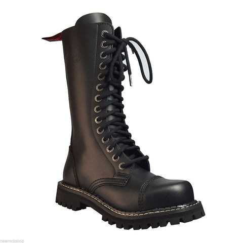 Angry Itch 14 Hole Black Combat Leather Army Ranger Boots Steel Toe Punk Zip - BOOTSANDLEATHER