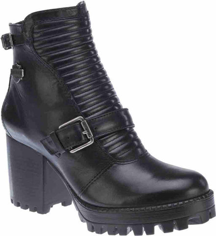 Harley Davidson New Ladies Canell Motorbike Black Ladies Leather Biker Boots - BOOTSANDLEATHER