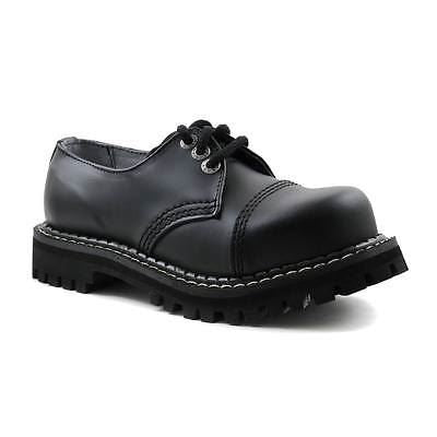 New Angry Itch Black Leather Unisex Shoes 3 Eyelets Steel Cap Combat Punk Rock - BOOTSANDLEATHER
