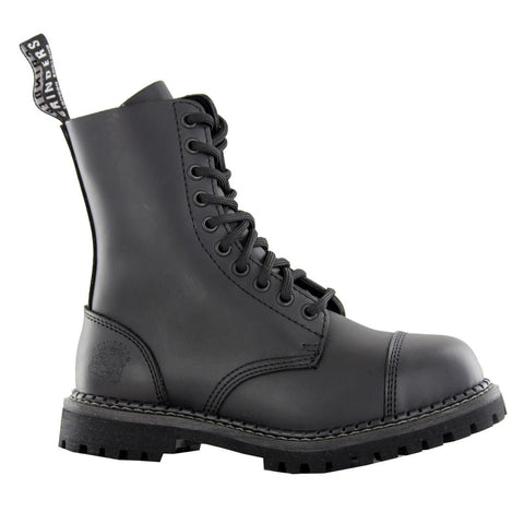 Grinders Stag Cs Derby Combat Boots Black Leather Safety Steel Cap Punk - BOOTSANDLEATHER