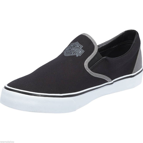 Harley Davidson Genuine Marchmont Black  Grey Mens Biker Slip On Relax Shoes - BOOTSANDLEATHER