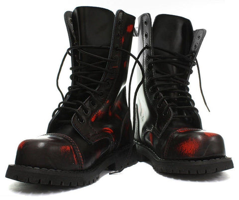 Grinders Hunter Black Red Rub Off Leather Unisex Combat Boots Red Punk Military - BOOTSANDLEATHER