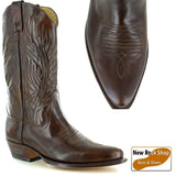 Loblan 194 Brown Whisky Leather Cowboy Boots Hand Made Classic Men'S Western - BOOTSANDLEATHER