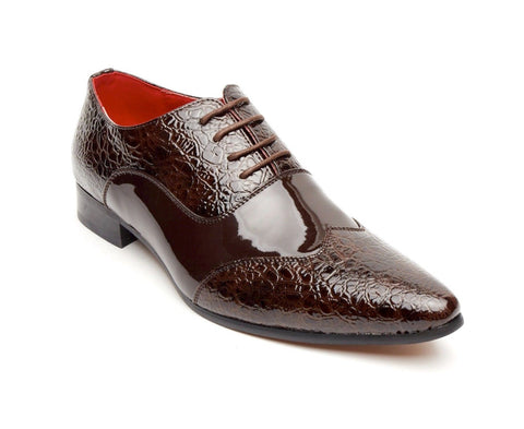 Rossellini Fellini Zx Mens Shoes Brown Leather Lined Metal Pointed Rock Shoe - BOOTSANDLEATHER