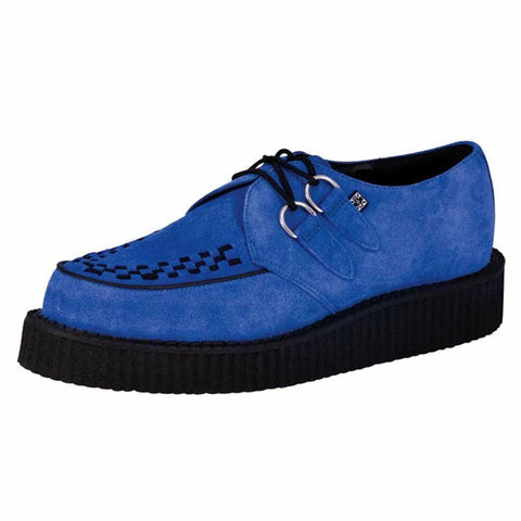 T.U.K. A8282 Tuk Shoes Mondo Lo Sole Creepers Electric Blue Suede Brothel - BOOTSANDLEATHER
