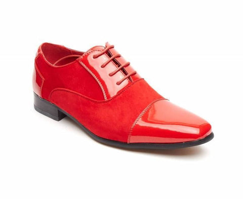 Rossellini Harry Mens Shoes Red Faux Shiny Leather Pointed Casual Shoe - BOOTSANDLEATHER
