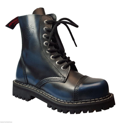 Angry Itch 8 Hole Punk Black Blue Leather Combat Boots Ranger Steel Toe Side - BOOTSANDLEATHER