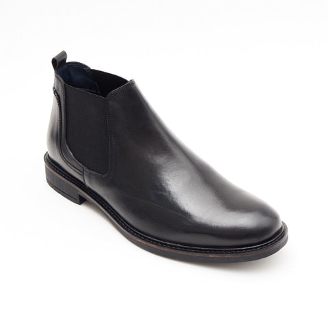 Lucini Formal Men Black Leather Formal Chelsea Slip-On Boots Wedding Office - BOOTSANDLEATHER