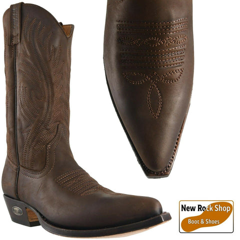 Loblan 194 Brown Waxy Leather Cowboy Boots Hand Made Classic Men Western 0194 - BOOTSANDLEATHER
