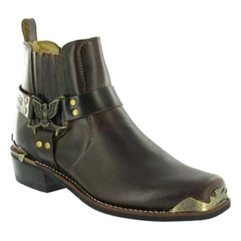 Grinders Rare Eagle Low Cowboy Biker Brown Leather Boots Western High Quality - BOOTSANDLEATHER