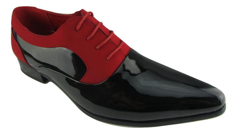Rossellini Armando Mens Shoes Black Patent Red Nubuck Lace Up Pointed Casual - BOOTSANDLEATHER
