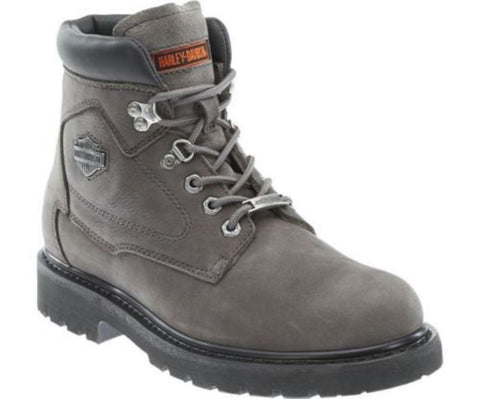 Harley Davidson Men Bayport Grey Leather Boots Biker Ride Trailer - BOOTSANDLEATHER