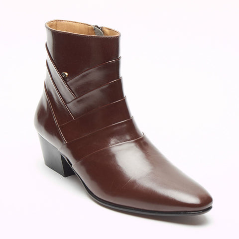 Mens Formal Lucini Leather Cuban Heel Brown Wedding Ankle Boots Zip Up - BOOTSANDLEATHER