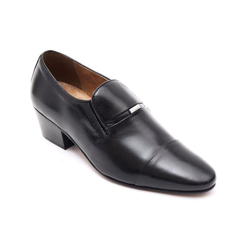Lucini Mens Formal Cuban Heels Real Leather Slip On Wedding Shoes Black - BOOTSANDLEATHER