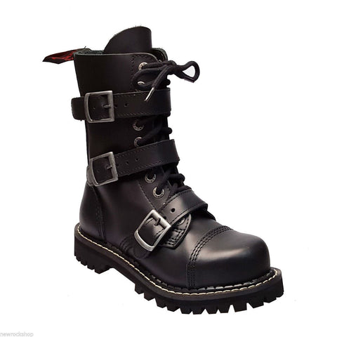 Angry Itch 10 Hole Black Leather Combat Boots 3 Buckle Army Ranger Steel Toe Zip - BOOTSANDLEATHER