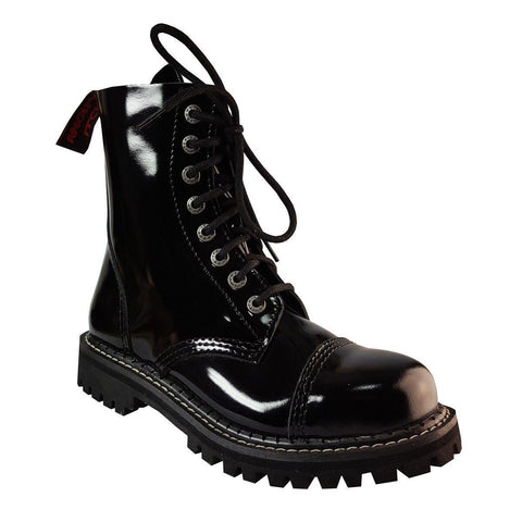 Angry Itch 8 Hole Combat Boots Black Patent Leather Ranger Steel Toe Punk - BOOTSANDLEATHER