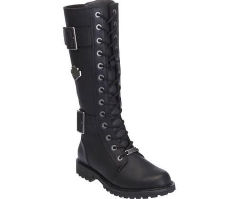 New Harley Davidson Belhaven Motorbike Black Ladies Leather Hi Lace Zip Boots - BOOTSANDLEATHER