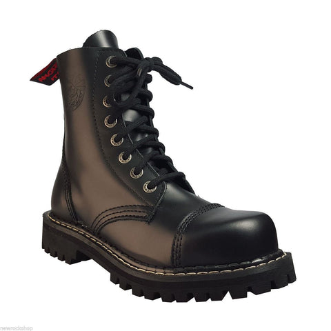 Angry Itch Black Leather Combat Boots 8 Hole Punk Army Ranger Steel Toe - BOOTSANDLEATHER