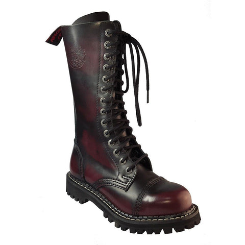 Angry Itch 14 Hole Burgundy Red Leather Combat Boots Ranger Steel Toe Punk Zip - BOOTSANDLEATHER