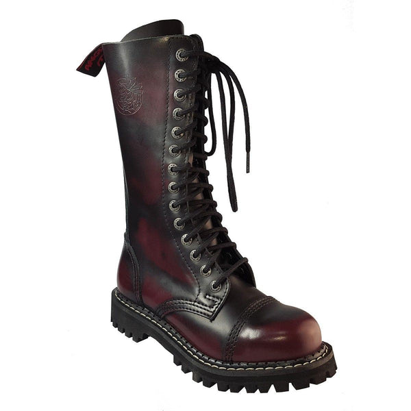 Angry Itch 14 Hole Burgundy Red Leather Combat Boots Ranger Steel Toe Punk Zip