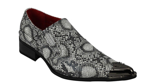 Rossellini Benitez Men Shoes Black Leather Snake Skin Lined Metal Pointed Rock - BOOTSANDLEATHER
