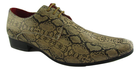 Rossellini Brenzone Mens Shoes Tan Beige Faux Snake Lace Up Pointed Casual Shoe - BOOTSANDLEATHER