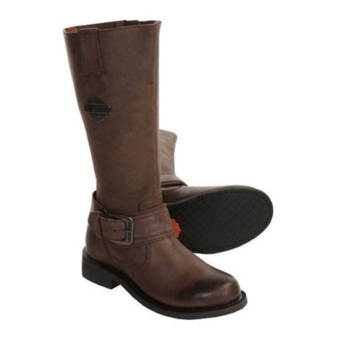 "Harley Davidson Ladies Belinda 15"" Tall Harness Brown Leather Zip Biker Boots - BOOTSANDLEATHER"