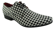 Rossellini Chessmaster Mens Shoes White Black Chess Lace Up Pointed