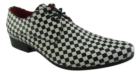 Rossellini Chessmaster Mens Shoes White Black Chess Lace Up Pointed - BOOTSANDLEATHER