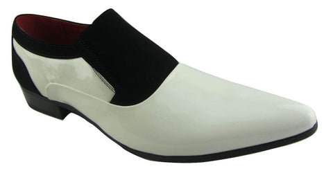 Rossellini Hackney Men Shoes Black White Nubuck Leather Lined Pointed Wedding - BOOTSANDLEATHER